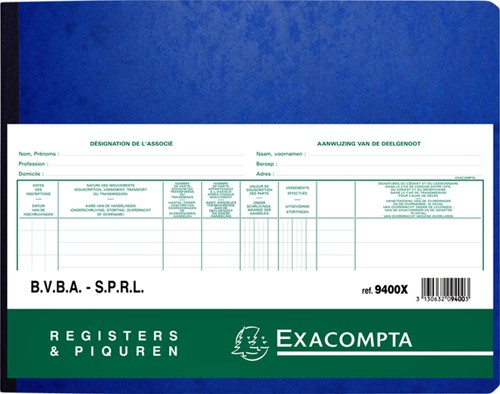 Register Piqure aandeelhouder BVBA/ SPRL 320x250mm 80vel groen