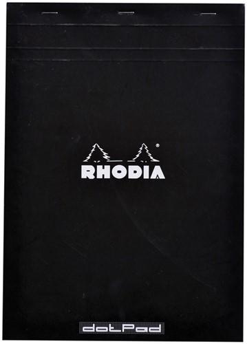 Schrijfblok Rhodia A4 80vel dots zwart