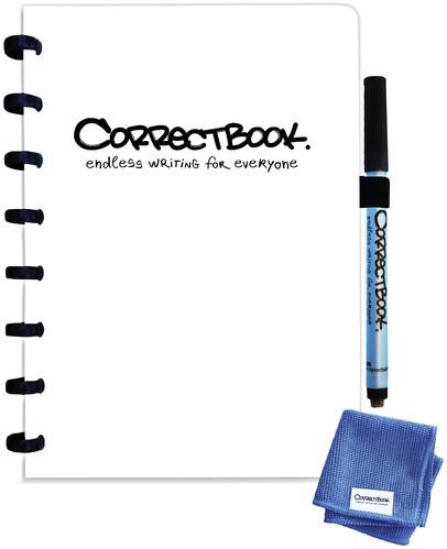Notitieboek Correctbook uitwisbaar en herbruikbaar A5 lijn 40blz inspirational white