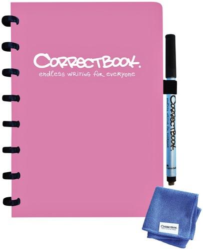 Notitieboek Correctbook uitwisbaar en herbruikbaar A5 lijn 40blz blossom pink