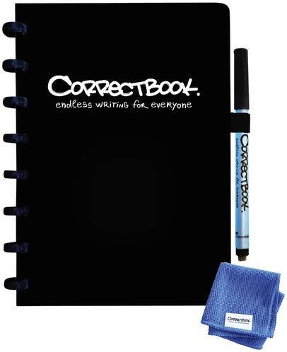 Notitieboek Correctbook uitwisbaar en herbruikbaar A5 zwart lijn 40blz