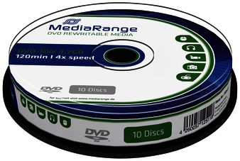 DVD-RW MediaRange 4.7GB 120min 4x speed, 10 stuks