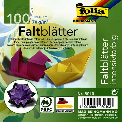 Vouwblaadjes Folia 70g/m² 10x10cm assorti pak à 100 vel