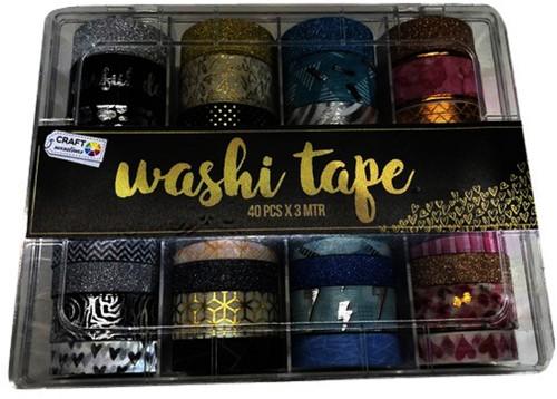 Washitape box met 40 rollen 6, 10, 15 en 20 mm x3m assorti