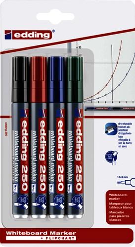 Viltstift edding 250 whiteboard rond 1.5-3mm blister à 4 kleuren