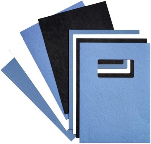 Voorblad GBC A4 lederlook met venster blauw 50stuks
