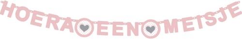 Letterslinger ''Hoera een meisje'' roze