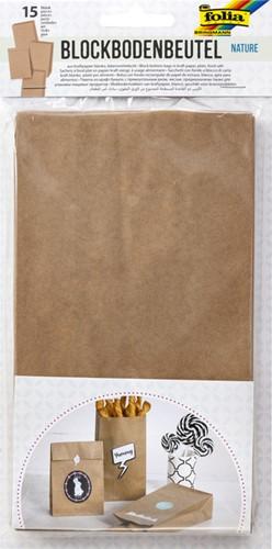 Blokzak kraft naturel foodsafe 12x6x21cm set à 15 stuks