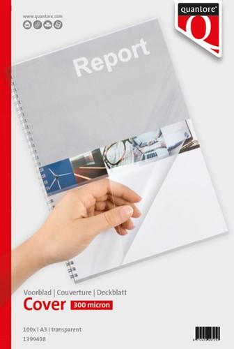 Voorblad Quantore A3 PVC 300 micron transparant 100 stuks