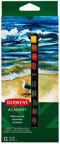 Aquarelverf Derwent Academy blister à 12 tubes à 12ml assorti
