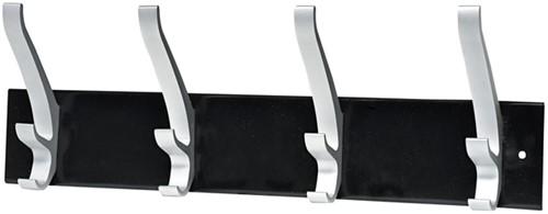 Kapstok wand Unilux Cypres 4 haken metallic grijs