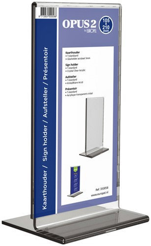 Kaarthouder OPUS 2 T-standaard Din lang staand acryl