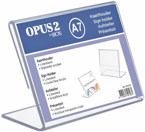 Kaarthouder OPUS 2 L-standaard A7 liggend acryl