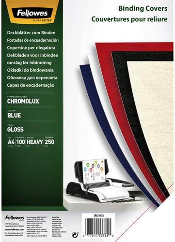 Voorblad Fellowes A4 Chromolux 250gr blauw 100stuks
