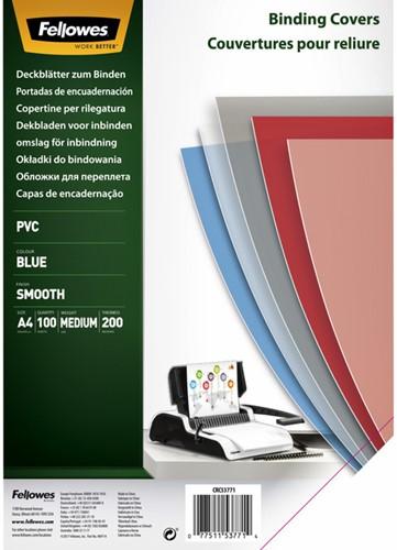 Voorblad Fellowes A4 PVC 200micron transparant blauw 100stuks