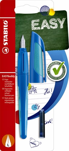 Vulpen STABILO Easybuddy linkshandig donkerblauw/lichtblauw blister