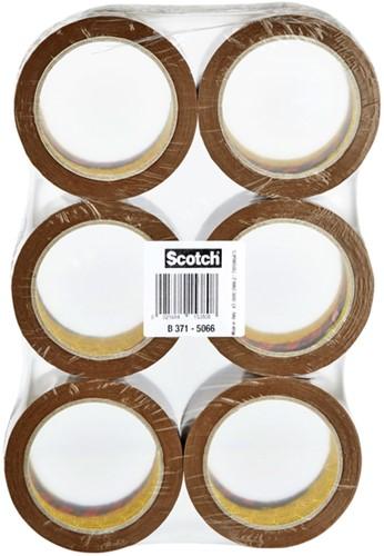 Verpakkingstape Scotch 371 50mmx66m bruin PP 6 rollen