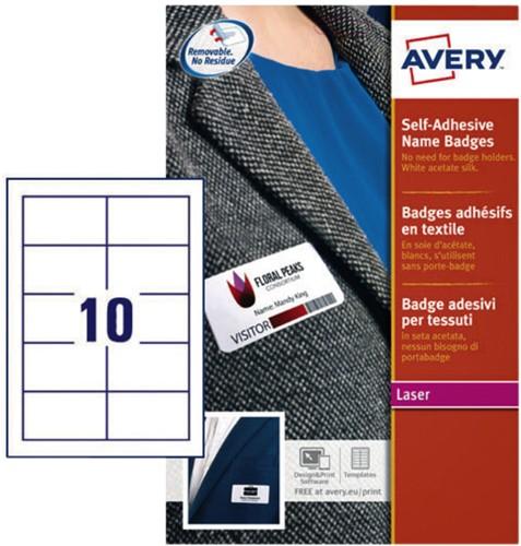 Naambadge etiket Avery L4787-20 80x50mm blauw kader 200stuks