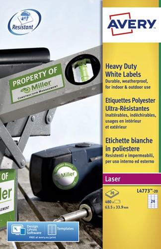 Etiket Avery L4773-20 63.5x33.9mm polyester wit 480stuks