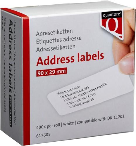 Labeletiket Quantore DK-11201 29x90mm adres wit