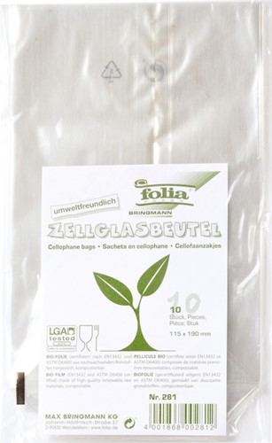 Cellofaanzak Folia transparant 115x190mm