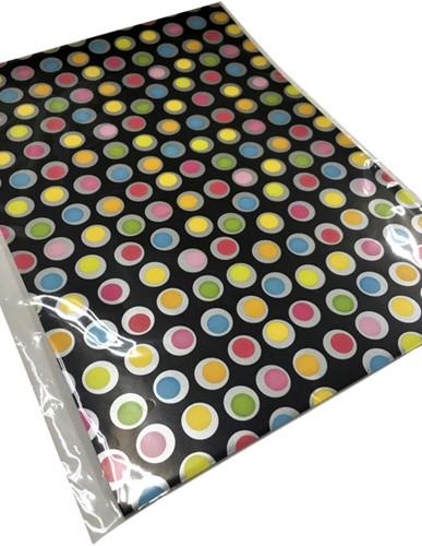 Inpakpapier gevouwen stip zwart 70x100cm