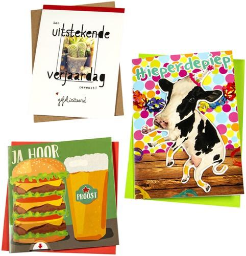 Wenskaart Paperclip navulset verjaardag humor set à 12 kaarten