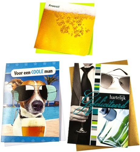 Wenskaart Paperclip navulset verjaardag man set à 6 kaarten