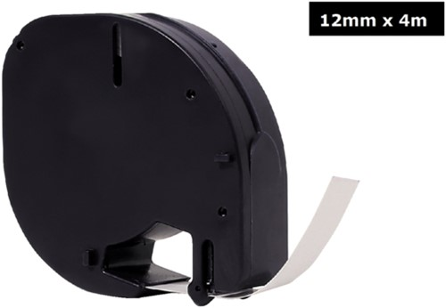 Labeltape Quantore 91201 12mmx4m kunststof zwart op wit