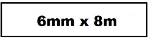 Labeltape Quantore TZE-211 6mm x 8m wit/zwart