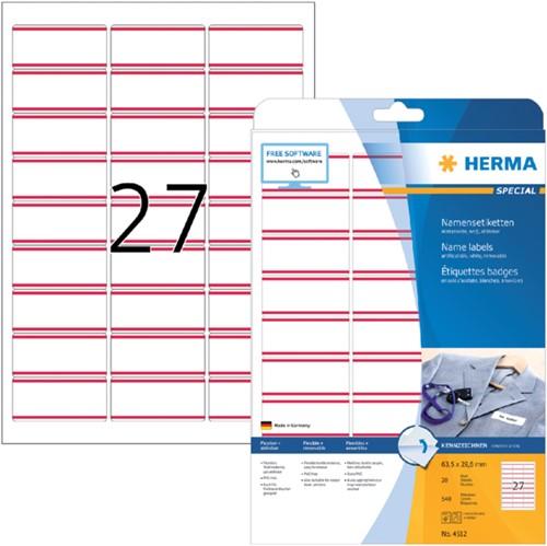 Naambadge etiket Herma 4512 63.5x29.6mm wit/rood