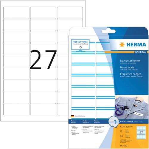 Naambadge etiket Herma 4513 63.5x29.6mm wit/blauw