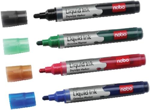 Viltstift Nobo whiteboard Liquid ink drymarker ass 3mm à 4st