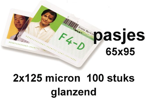 Lamineerhoes GBC overheids card 65x95mm 2x125micron 100stuks