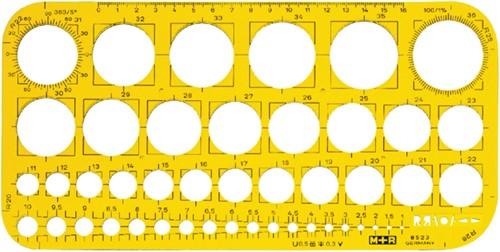 Sjabloon M+R 852306 cirkels 1-36mm transparant geel