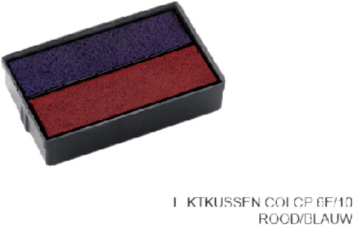 Stempelkussen Colop 6E/10 rood blauw