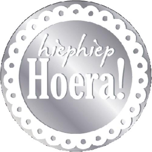 Etiket Haza Hiep Hiep Hoera zilver/wit