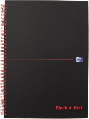 Notitieboek Oxford Black n' Red A4 70v ruit 5mm