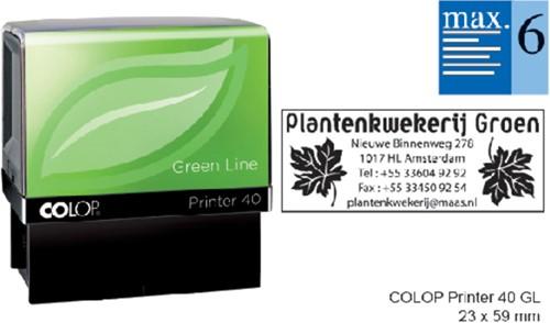 Tekststempel Colop 40 green line+bon 6regels 59x23mm