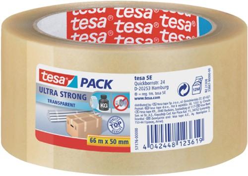 Verpakkingstape Tesa 50mmx66m transparant ultra sterk PVC