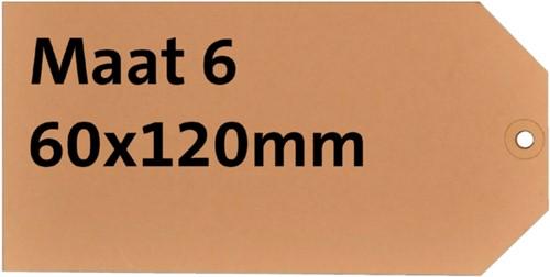 Label karton nr6 200gr 60x120mm chamois 1000stuks