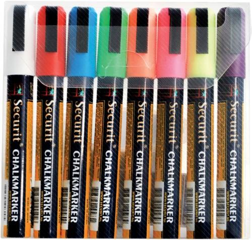 Krijtstift Securit SMA-510 schuin ass 2-6mm blister à 8st