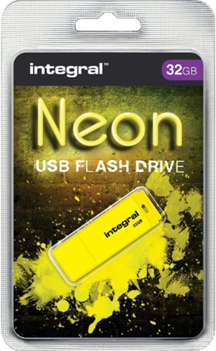 USB-stick 2.0 Integral 32GB neon geel