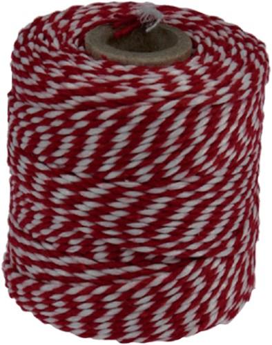 Touw katoen 45meter 50gr rood/wit