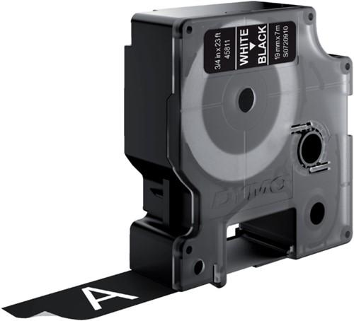 Labeltape Dymo 45811 D1 720910 19mmx7m wit op zwart