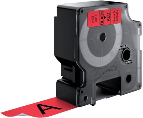 Labeltape Dymo 53717 D1 720970 24mmx7m zwart op rood