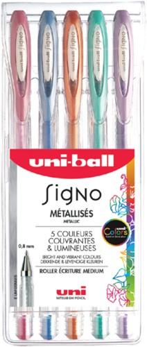 Gelschrijver Uni-ball Signo metallic etui à 5 kleuren