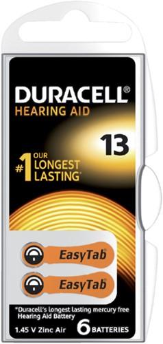 Batterij Duracell Hearing DA13 Ø7,9mm 310mAh 6 stuks
