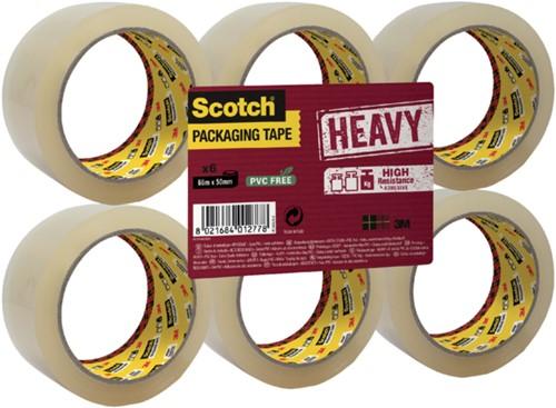 Verpakkingstape Scotch Heavy 50mmx66m transparant 6 rollen