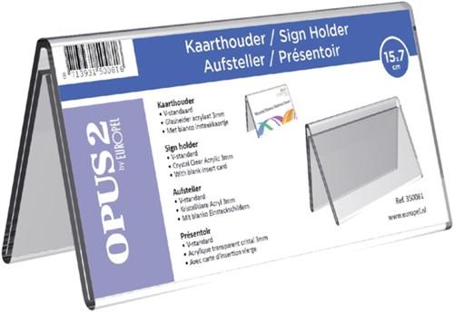Tafelnaambord OPUS 2 V-standaard 70mmx150mm acryl